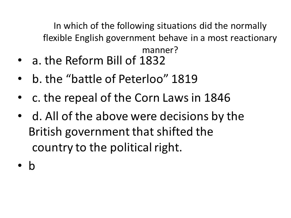 b. the battle of Peterloo 1819