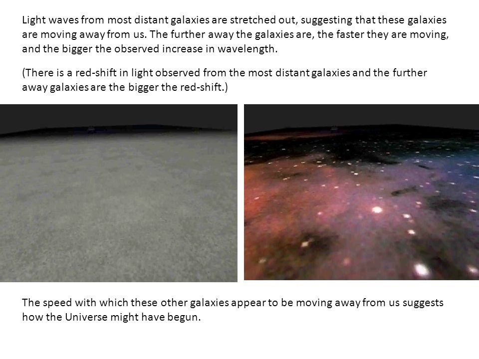 Light waves from most distant galaxies are stretched out, suggesting that these galaxies are moving away from us. The further away the galaxies are, the faster they are moving, and the bigger the observed increase in wavelength.