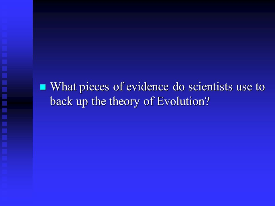 What pieces of evidence do scientists use to back up the theory of Evolution