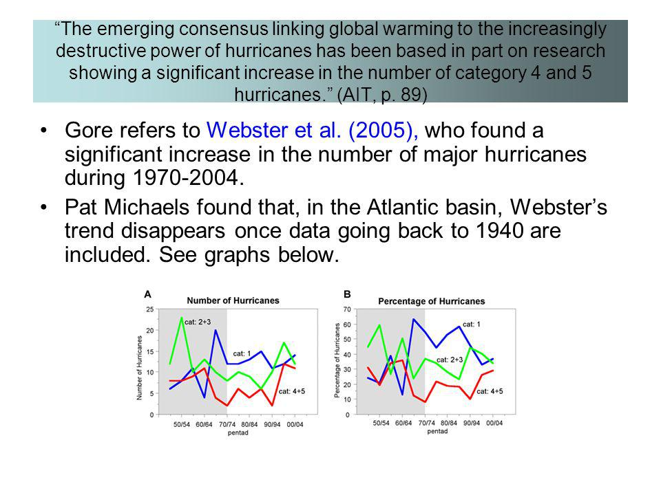 The emerging consensus linking global warming to the increasingly destructive power of hurricanes has been based in part on research showing a significant increase in the number of category 4 and 5 hurricanes. (AIT, p. 89)