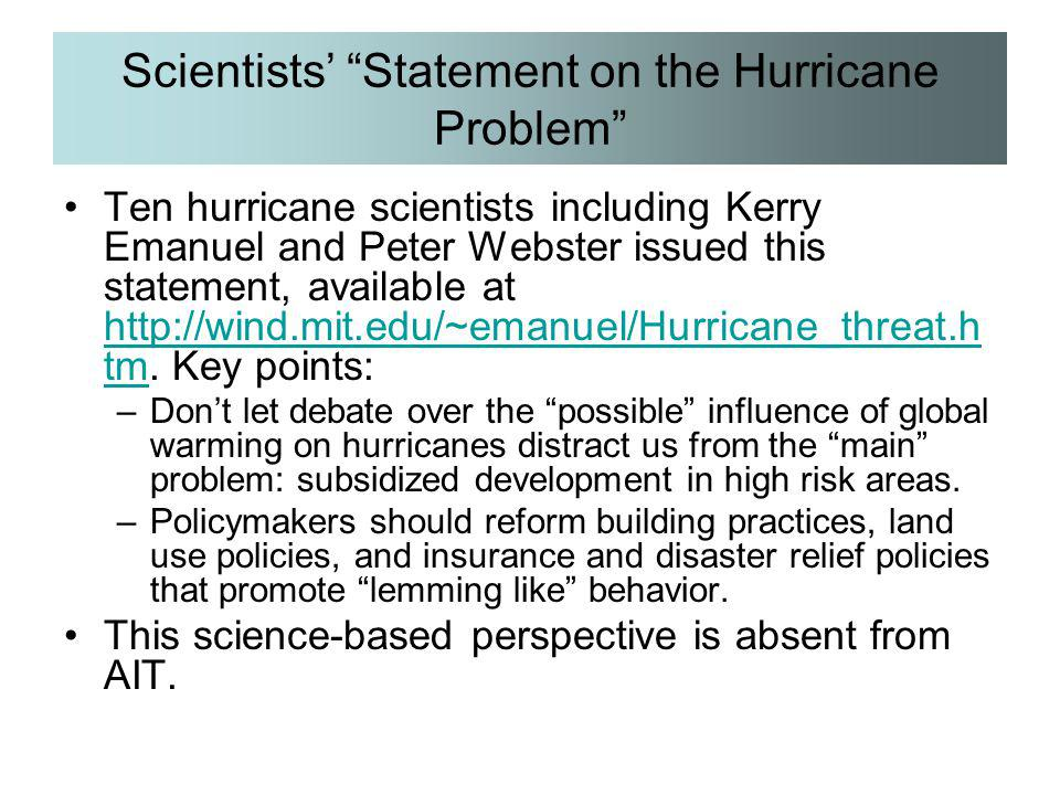 Scientists' Statement on the Hurricane Problem
