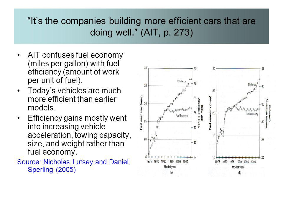 It's the companies building more efficient cars that are doing well