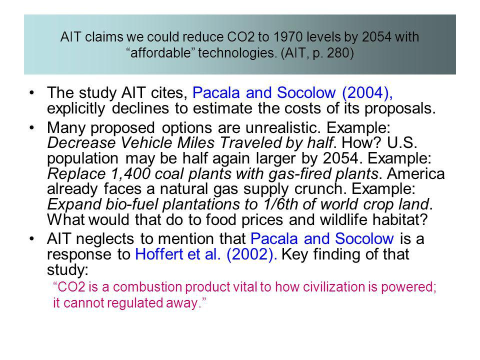 AIT claims we could reduce CO2 to 1970 levels by 2054 with affordable technologies. (AIT, p. 280)
