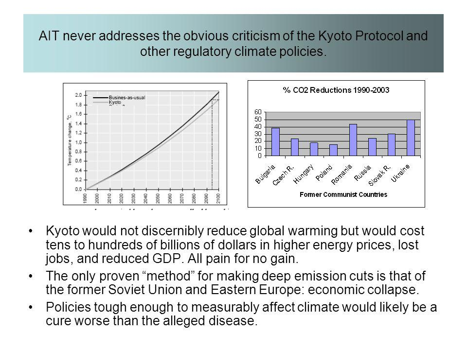 AIT never addresses the obvious criticism of the Kyoto Protocol and other regulatory climate policies.