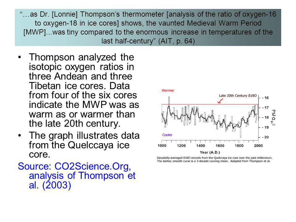 The graph illustrates data from the Quelccaya ice core.