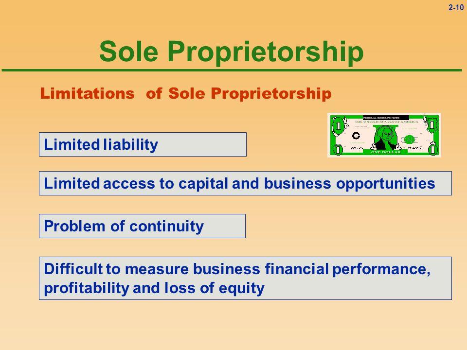 Sole Proprietorship Limitations of Sole Proprietorship