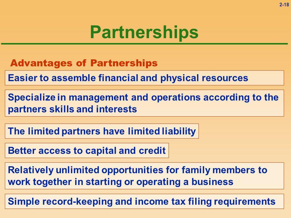 Partnerships Advantages of Partnerships