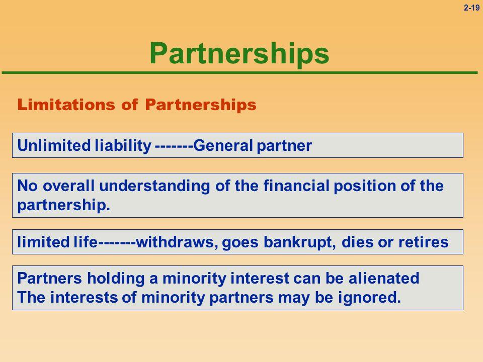 Partnerships Limitations of Partnerships