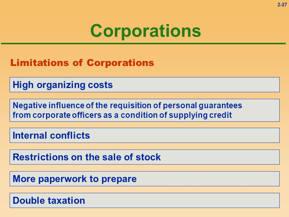 Corporations Limitations of Corporations High organizing costs