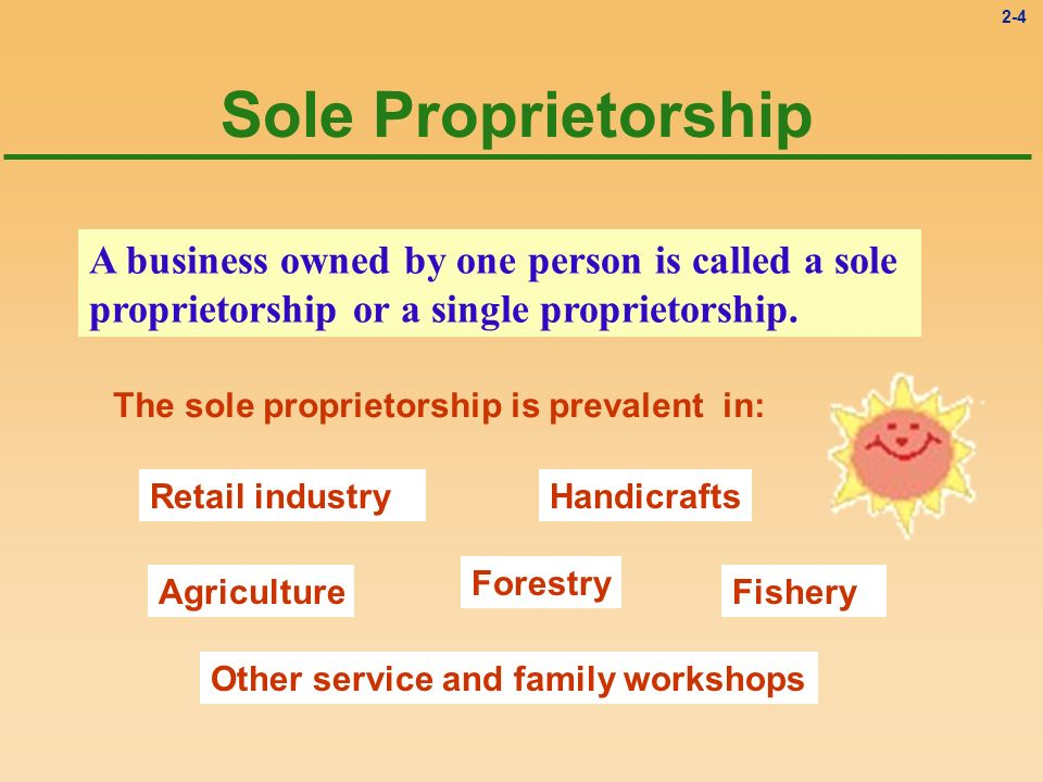 Sole Proprietorship A business owned by one person is called a sole