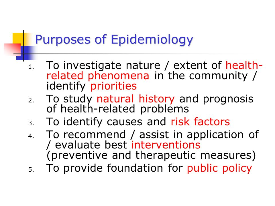 Purposes of Epidemiology