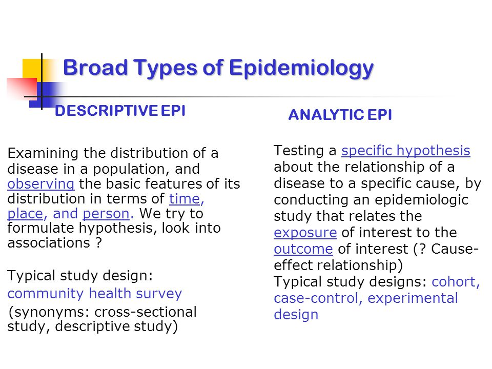 Broad Types of Epidemiology
