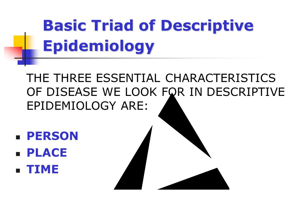 Basic Triad of Descriptive Epidemiology