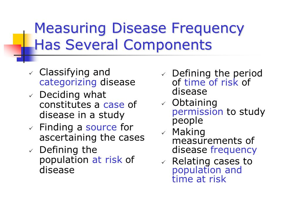 Measuring Disease Frequency Has Several Components