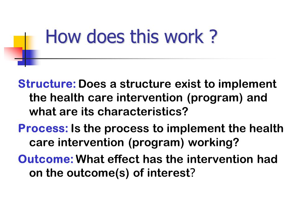 How does this work Structure: Does a structure exist to implement the health care intervention (program) and what are its characteristics