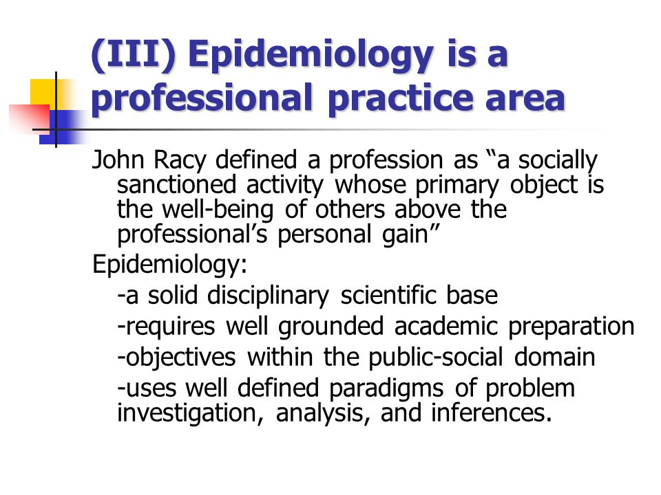 (III) Epidemiology is a professional practice area
