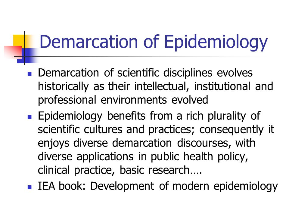 Demarcation of Epidemiology