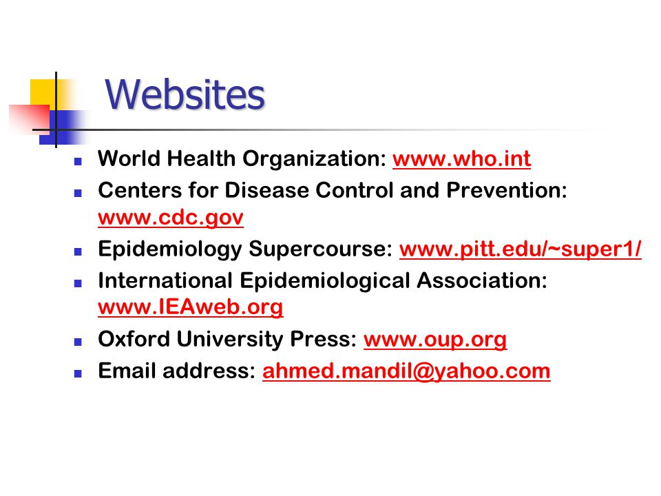 Websites World Health Organization: www.who.int
