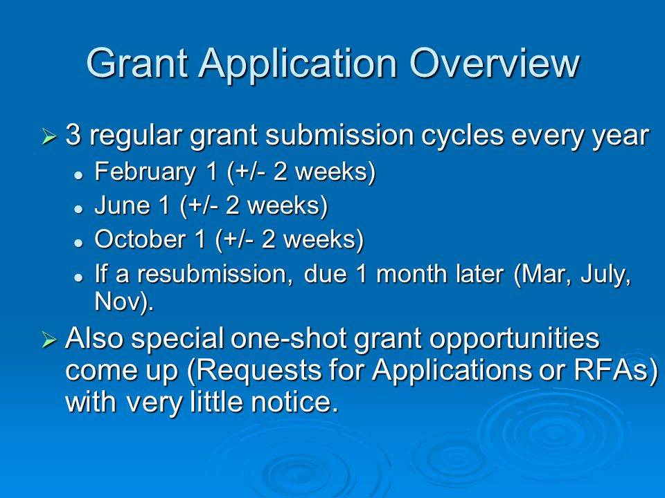 Grant Application Overview