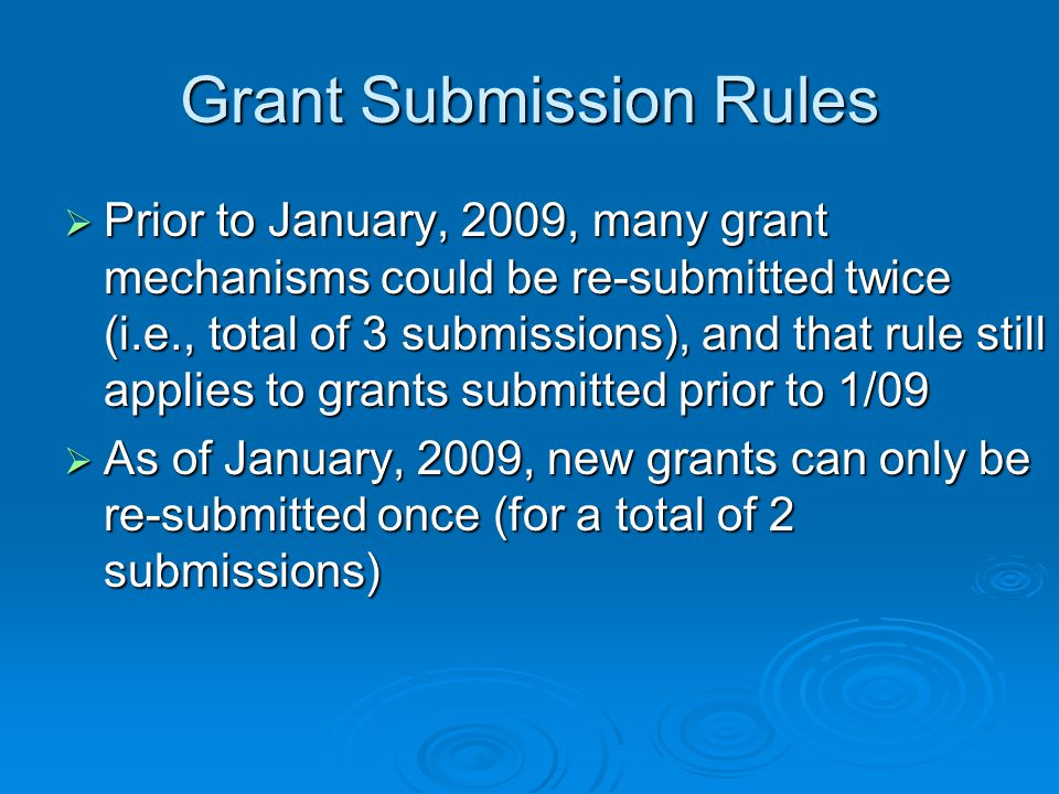 Grant Submission Rules