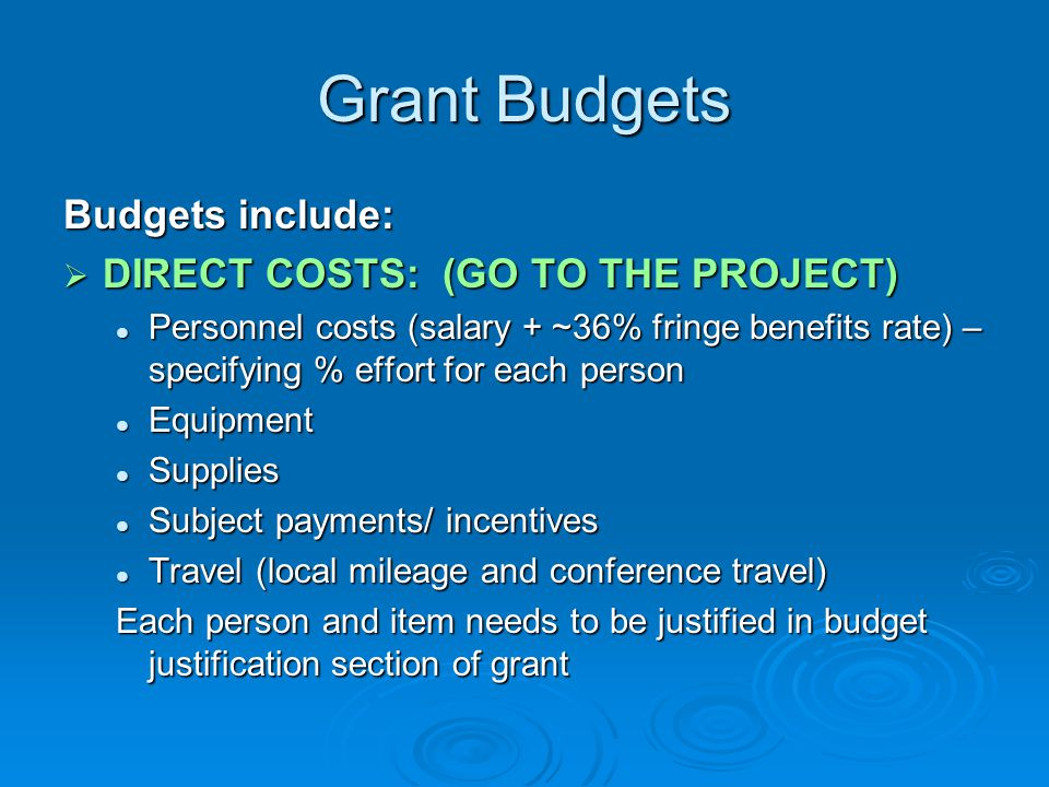 Grant Budgets Budgets include: DIRECT COSTS: (GO TO THE PROJECT)