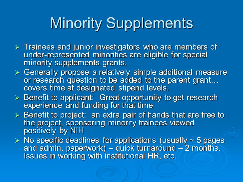 Minority Supplements