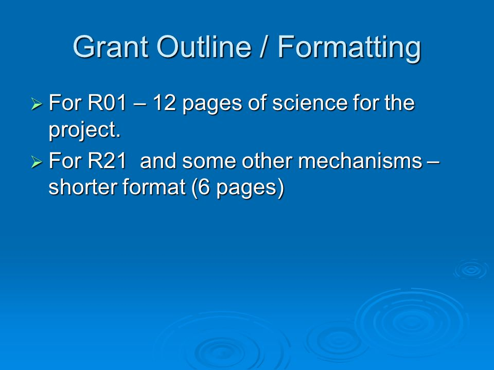 Grant Outline / Formatting