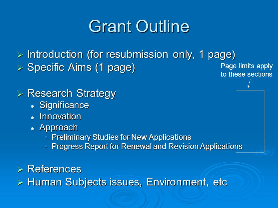 Grant Outline Introduction (for resubmission only, 1 page)