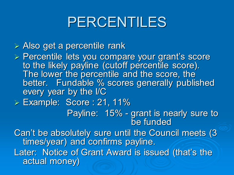 PERCENTILES Also get a percentile rank