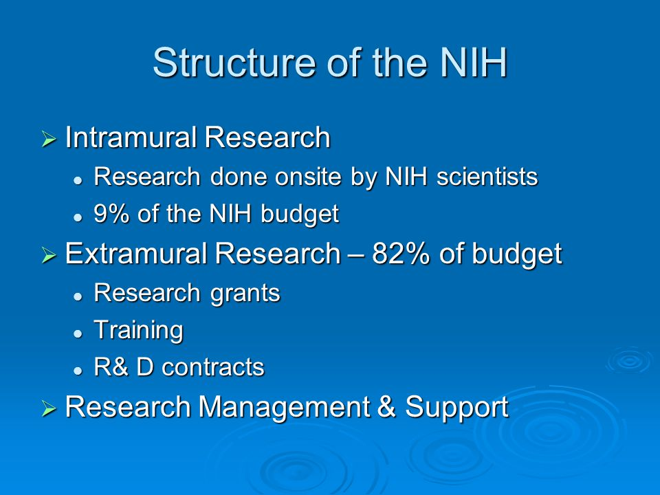 Structure of the NIH Intramural Research