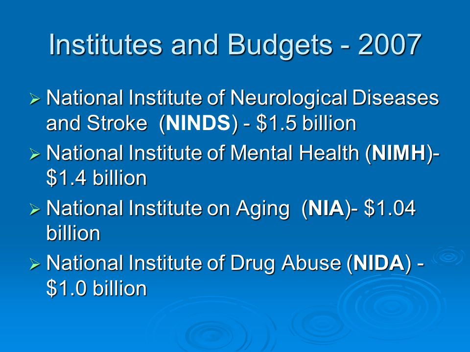 Institutes and Budgets - 2007