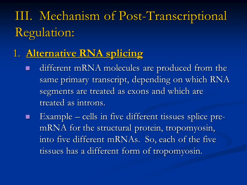III. Mechanism of Post-Transcriptional Regulation: