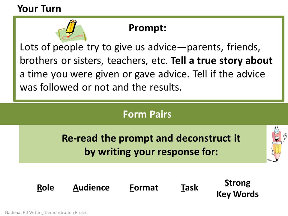 Re-read the prompt and deconstruct it by writing your response for: