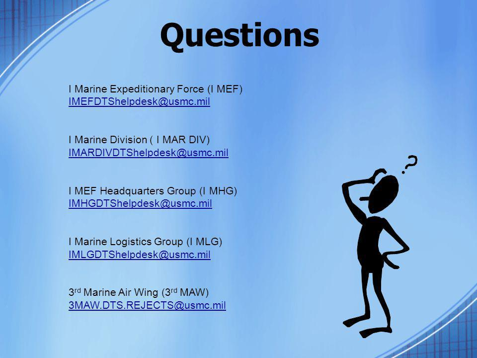 Questions I Marine Expeditionary Force (I MEF)