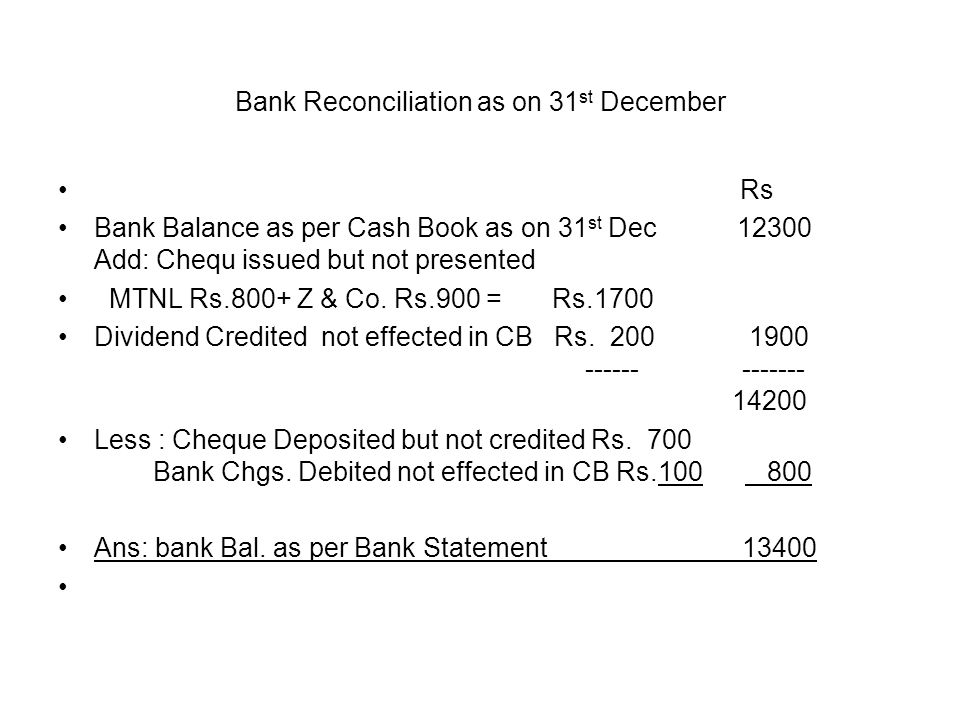 Bank Reconciliation as on 31st December