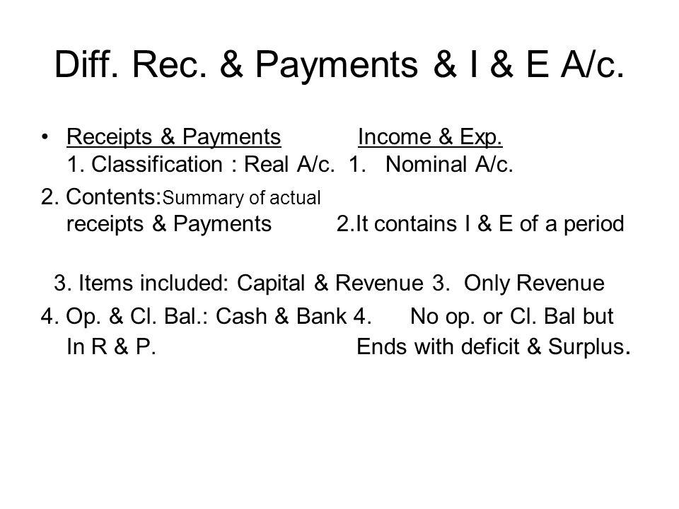Diff. Rec. & Payments & I & E A/c.
