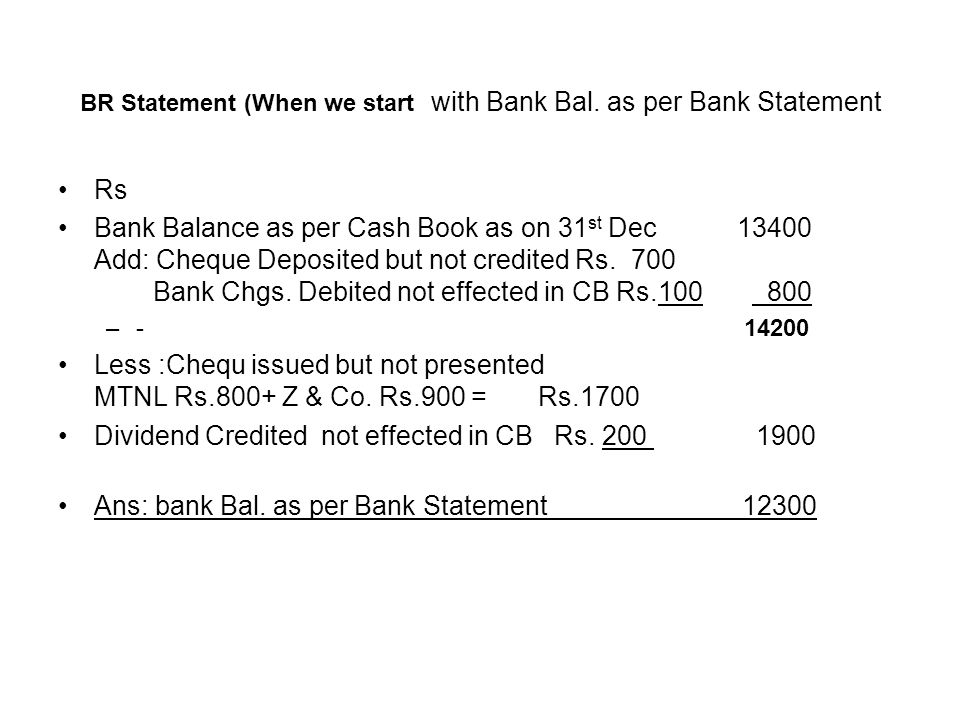 BR Statement (When we start with Bank Bal. as per Bank Statement