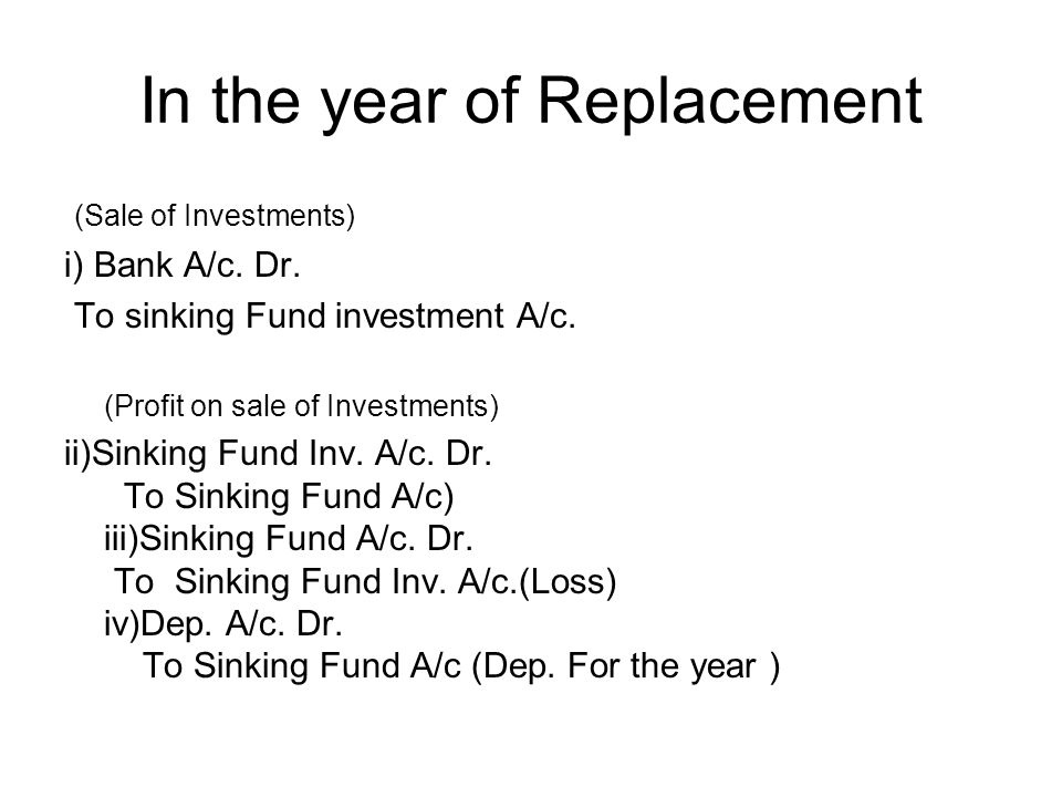 In the year of Replacement
