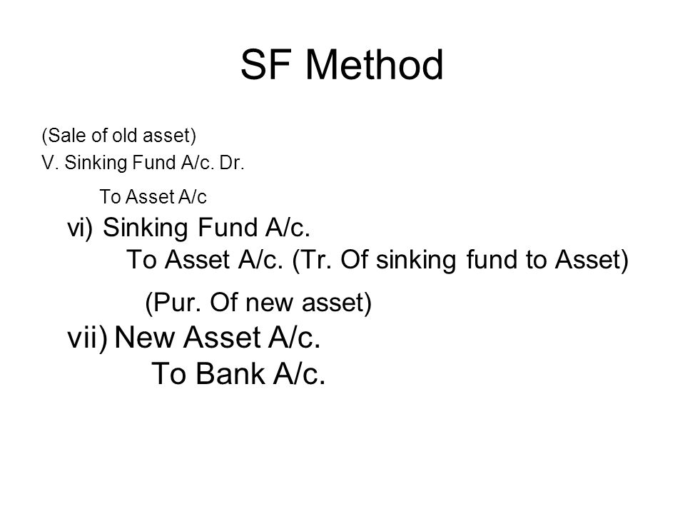 SF Method (Pur. Of new asset) vii) New Asset A/c. To Bank A/c.