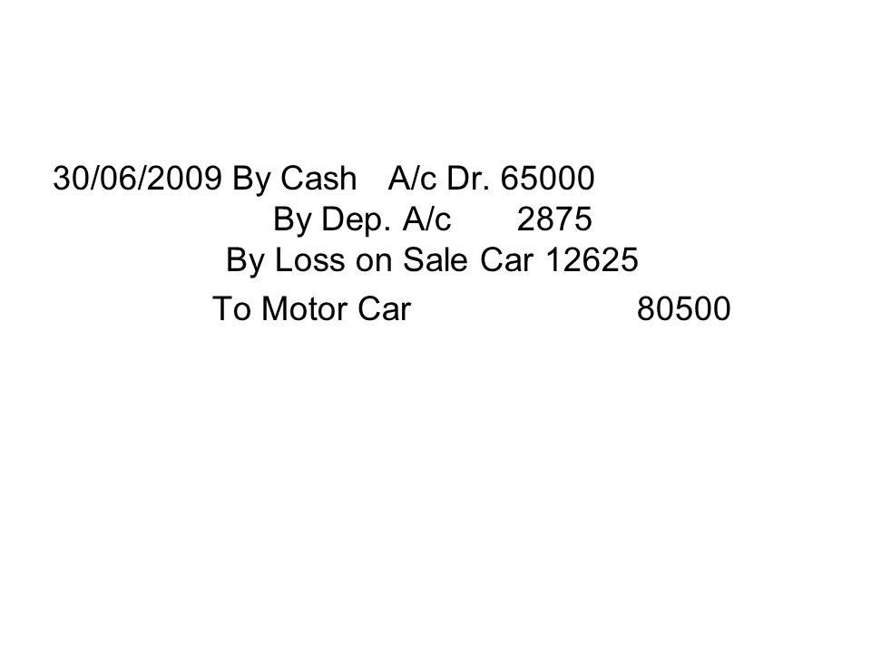 30/06/2009 By Cash A/c Dr. 65000 By Dep. A/c 2875 By Loss on Sale Car 12625