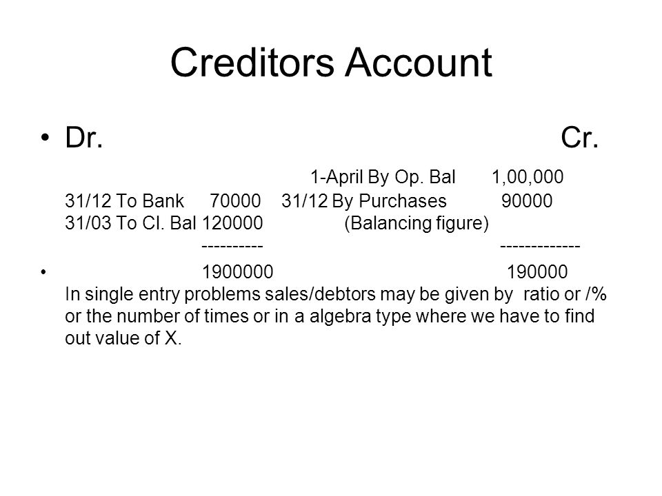 Creditors Account