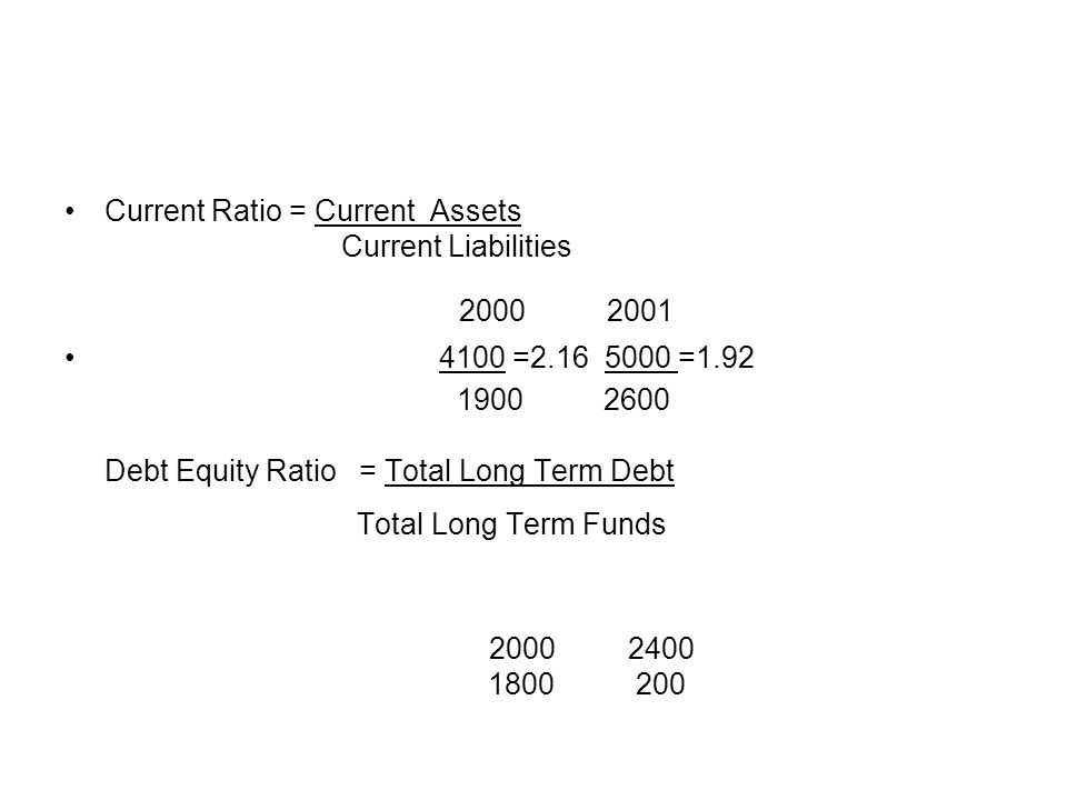 2000 2001 Current Ratio = Current Assets Current Liabilities