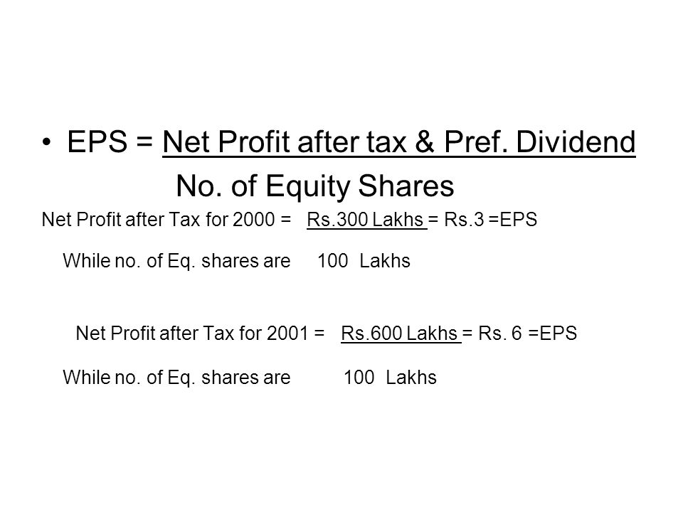 EPS = Net Profit after tax & Pref. Dividend No. of Equity Shares