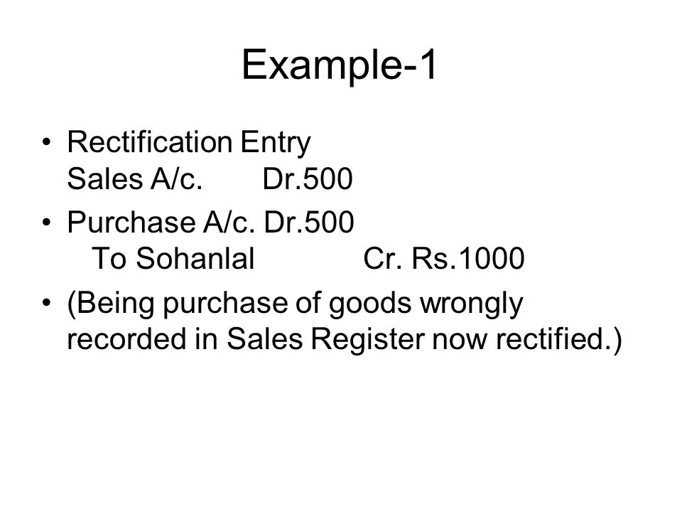 Example-1 Rectification Entry Sales A/c. Dr.500