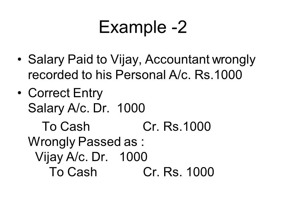Example -2 Salary Paid to Vijay, Accountant wrongly recorded to his Personal A/c. Rs.1000. Correct Entry Salary A/c. Dr. 1000.