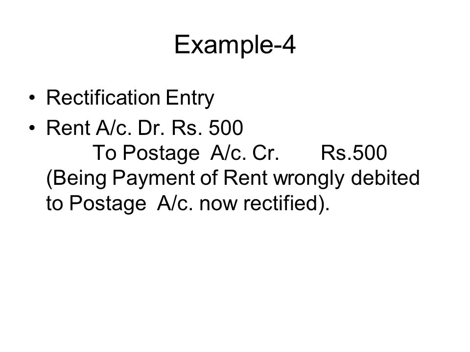 Example-4 Rectification Entry