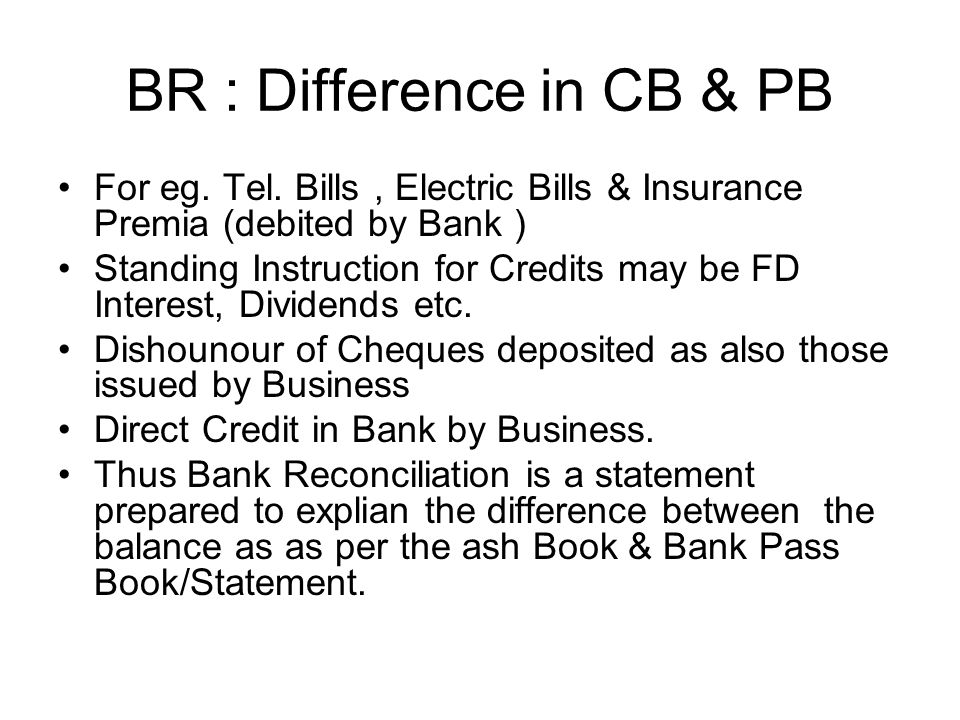 BR : Difference in CB & PB