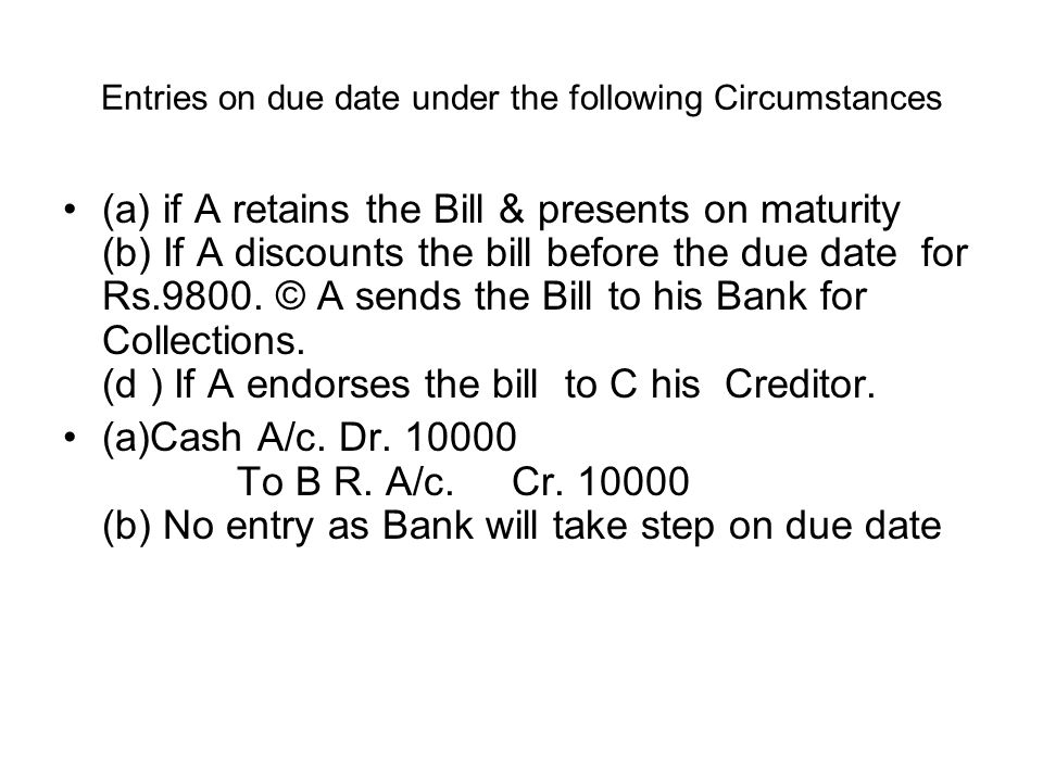 Entries on due date under the following Circumstances