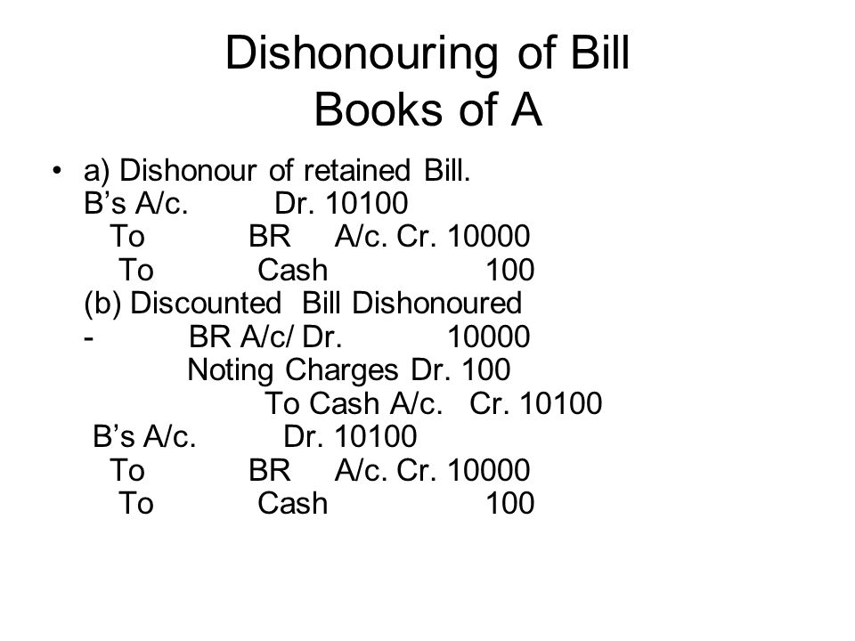 Dishonouring of Bill Books of A