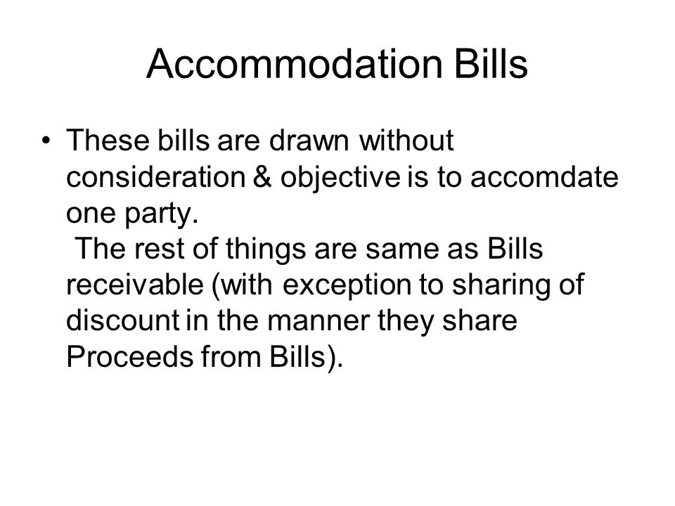 Accommodation Bills